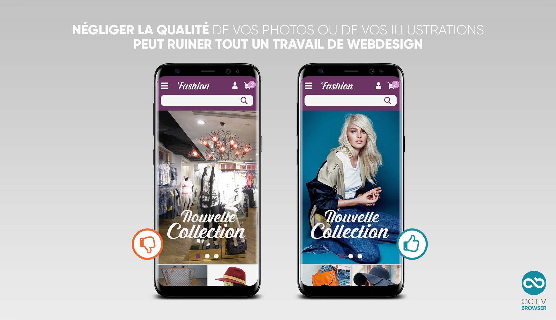 Comparaison du rendu d'un site ecommerce en mobile avec des photos de bonne et de mauvaise qualité